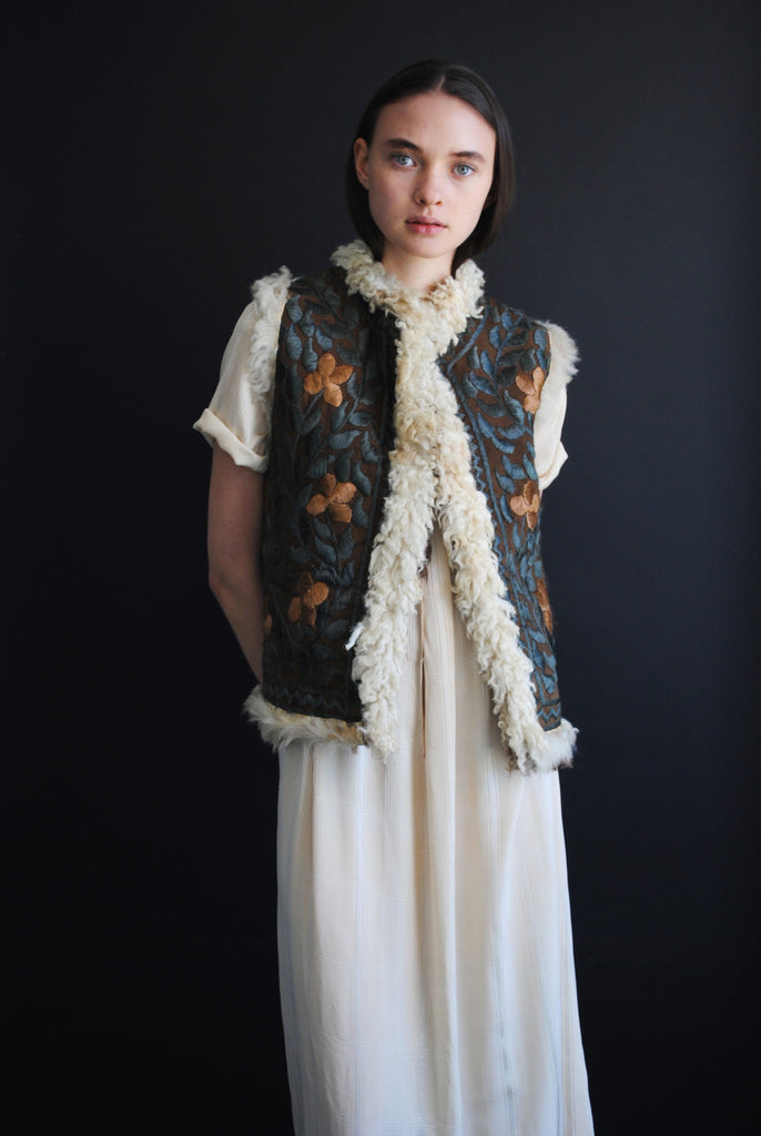 Embroidered Shearling Vest