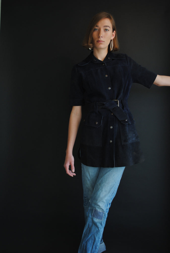 Vintage Navy Suede Tunic Dress