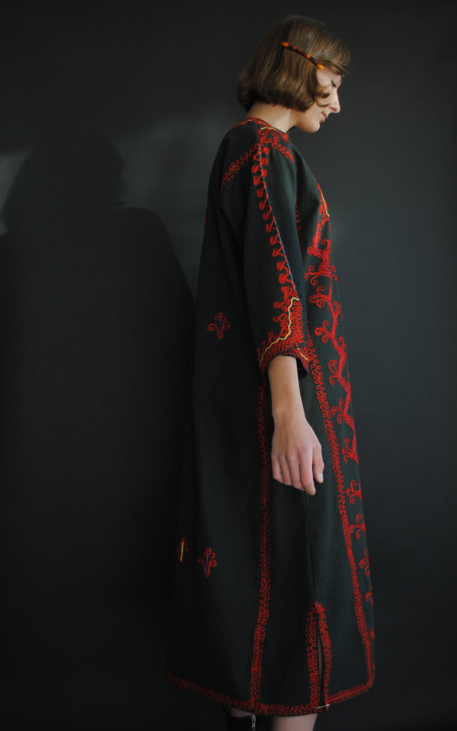 1940's Embroidered Red Caftan