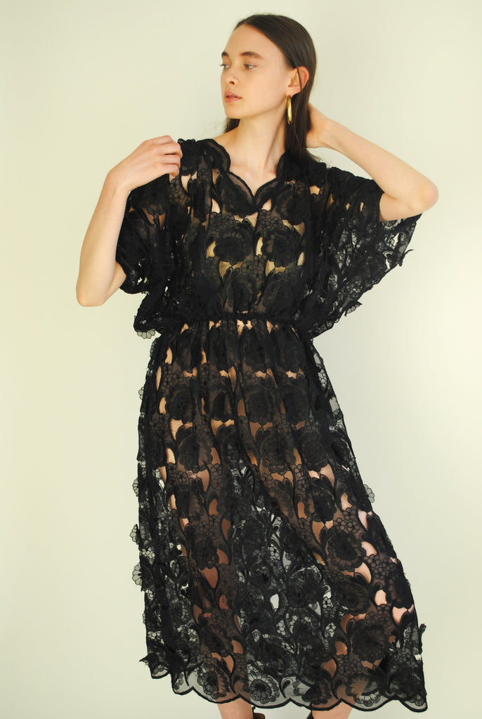 Vintage Appliqué Black Dress