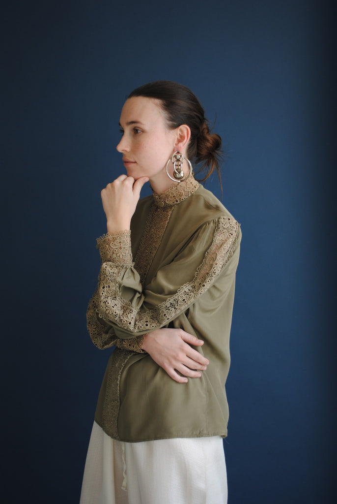 Olive Green Silk Blouse