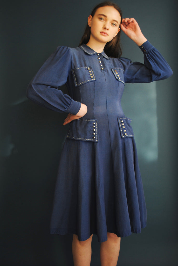 1940's Studded Blue Dress