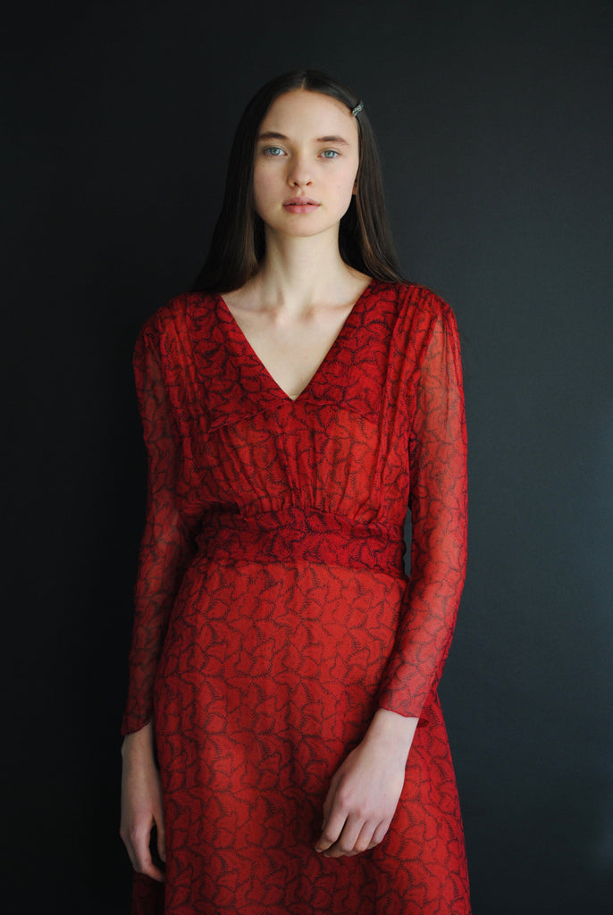 Vintage Poppy Red Silk Dress
