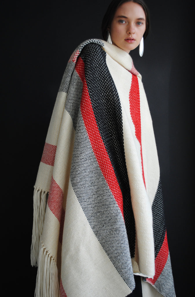Red,White, and Black Woven Blanket