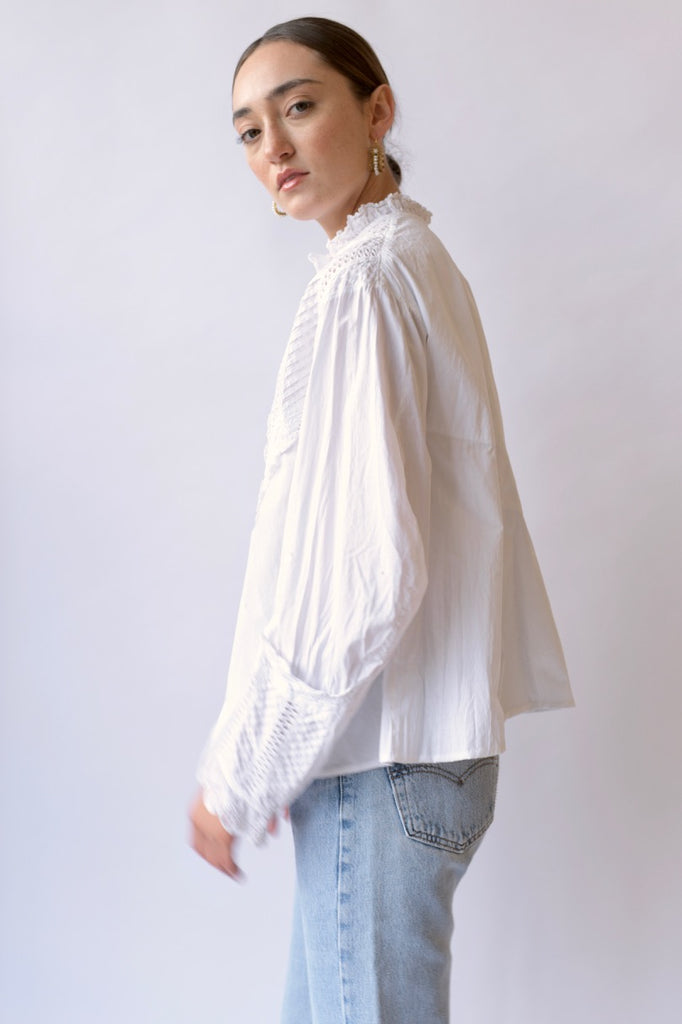 Antique Embroidered White Blouse