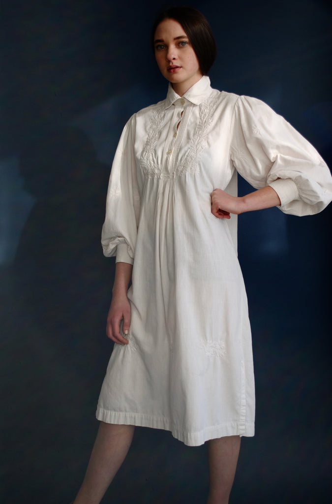 Embroidered White Smock Dress