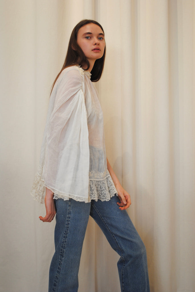 Antique Lace & Cotton Blouse