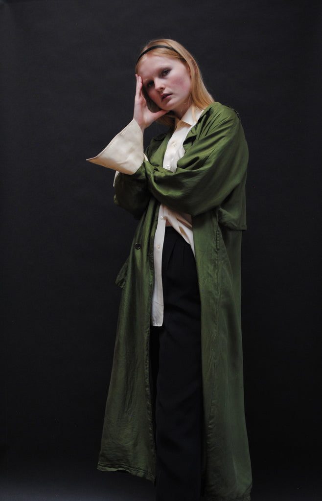 Kelly Green Silk Trench