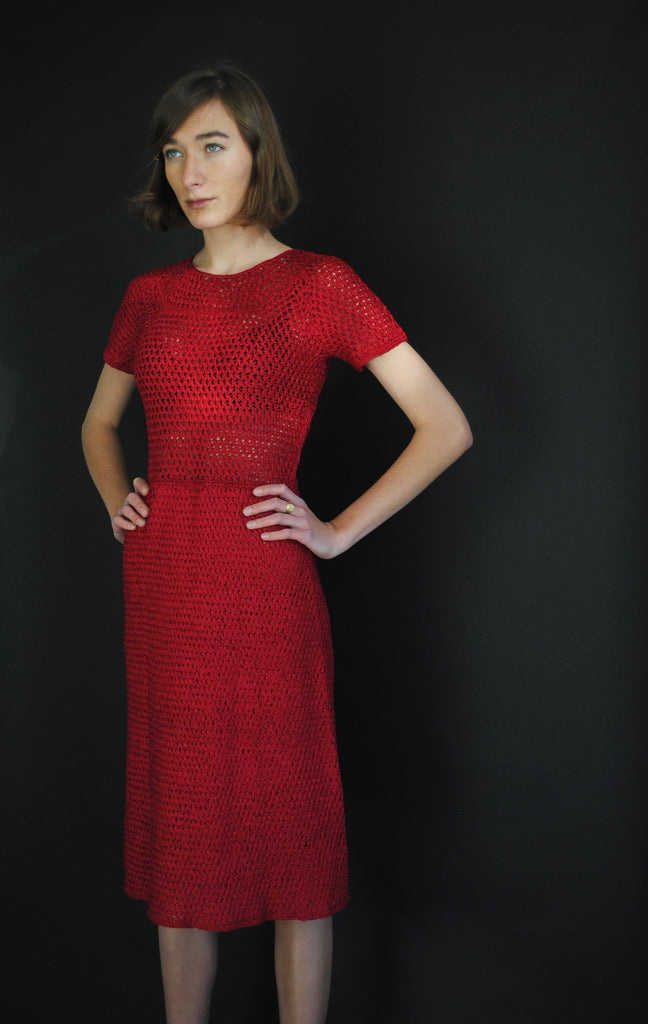 1940's Red Ribbon Dress
