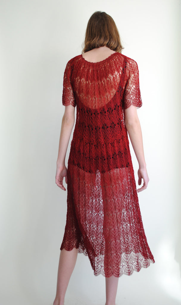 1930's Crimson Knit Dress