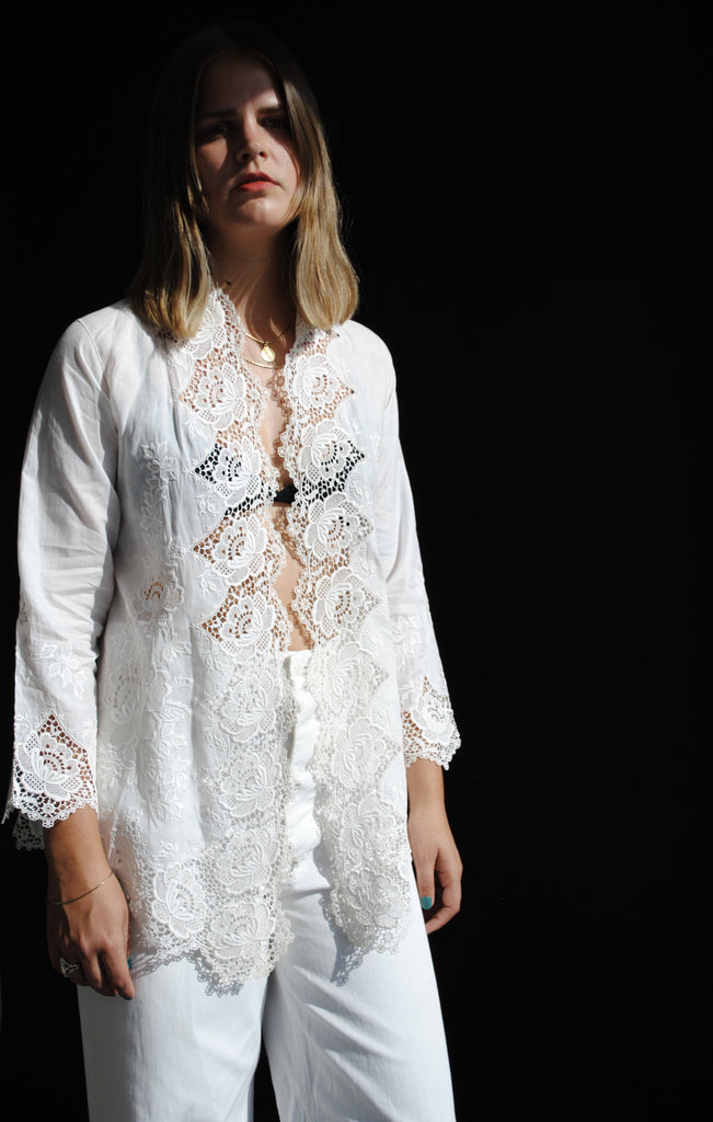 Vintage Inlay Lace Blouse