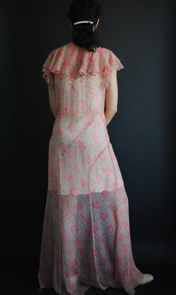 1930's Floral Chiffon Gown