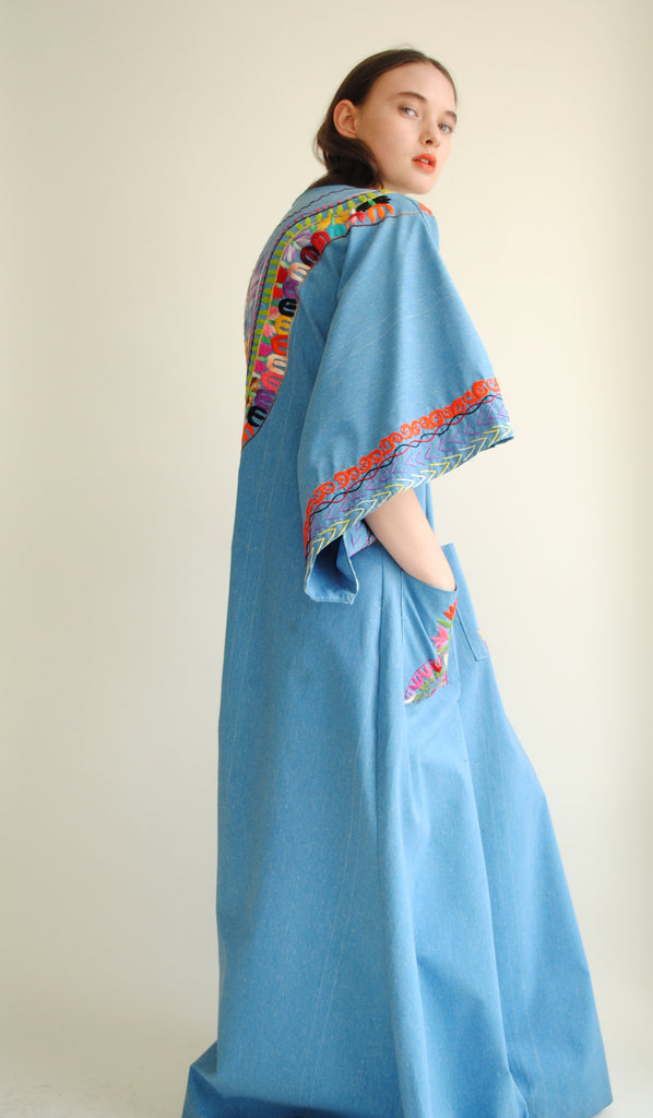 Chambray Embroidered Caftan