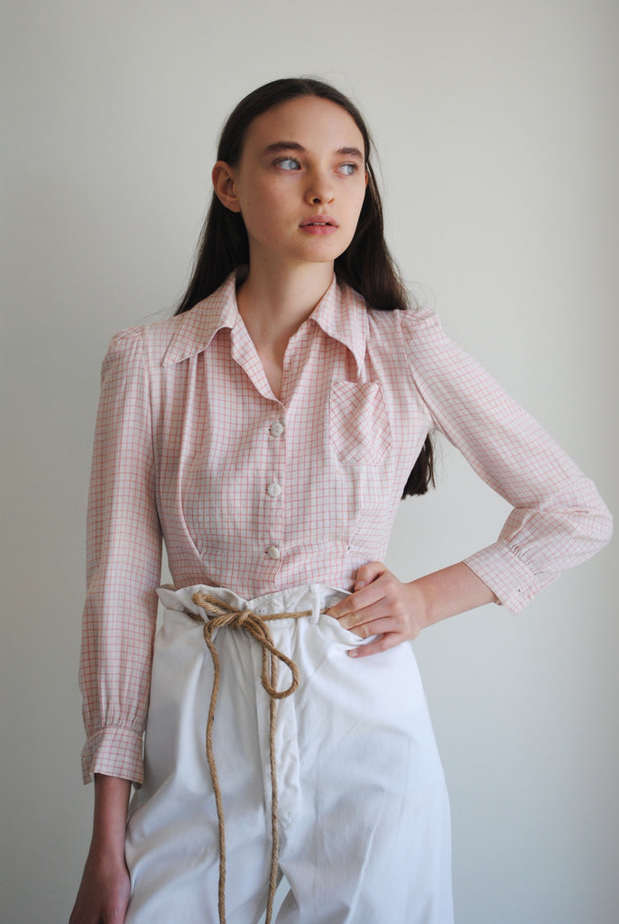 1940's Patterned Pink Blouse