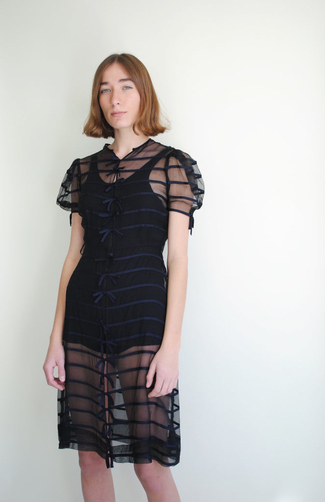 1930's Sheer Ribbon Dress
