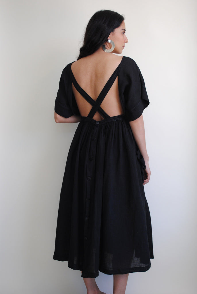 Vintage Cotton Black Dress