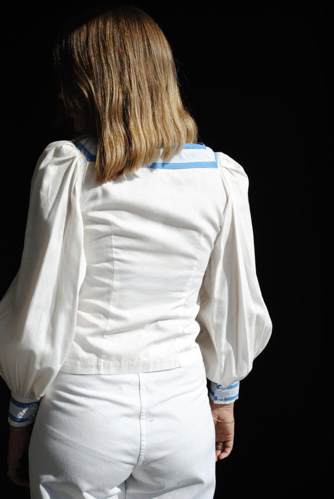 Blue & White Poplin Blouse
