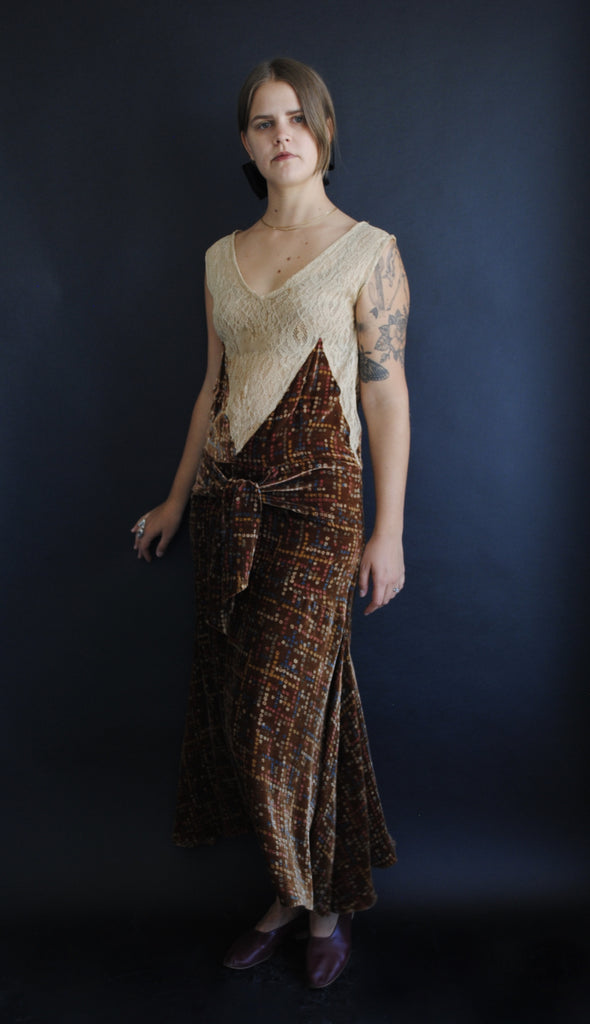1930's Silk Velvet Evening Dress