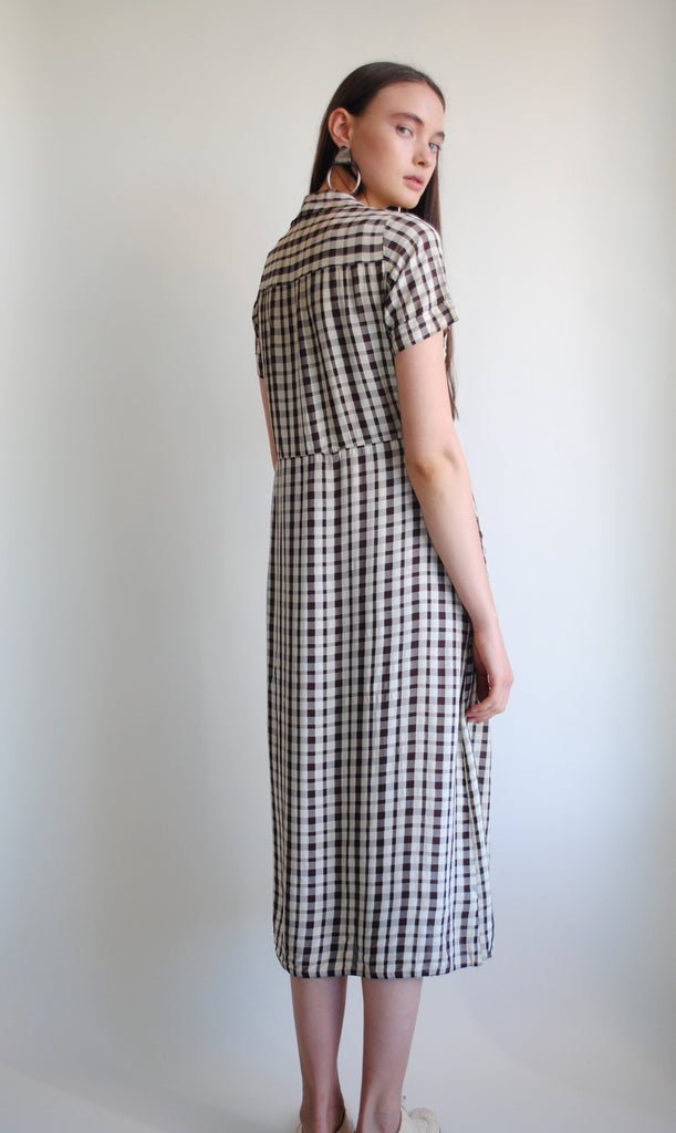 1930's Checkered Silk Dress