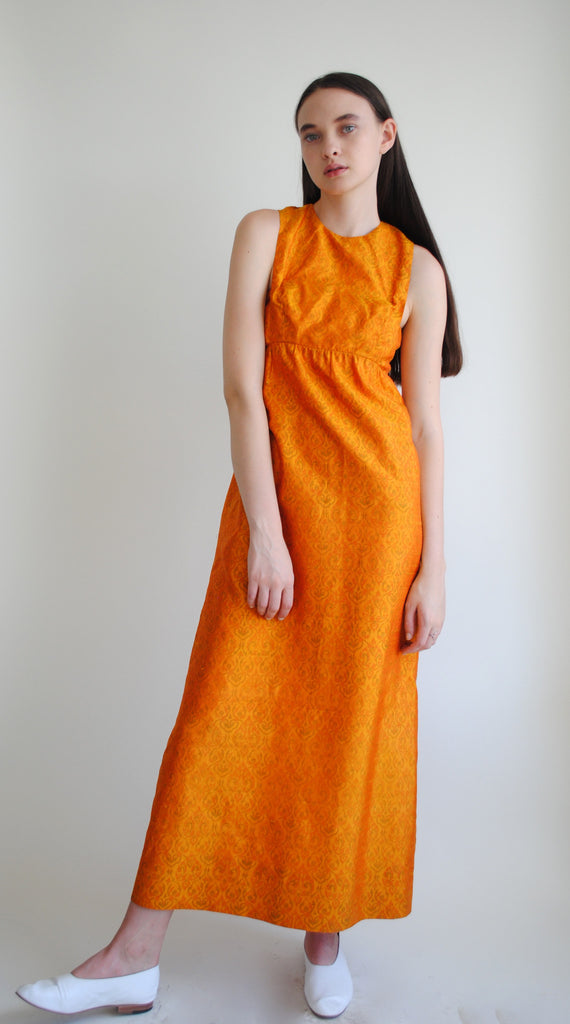 Orange Silk Column Dress
