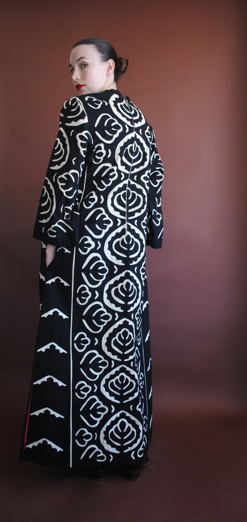 Black and White Appliqué Dress