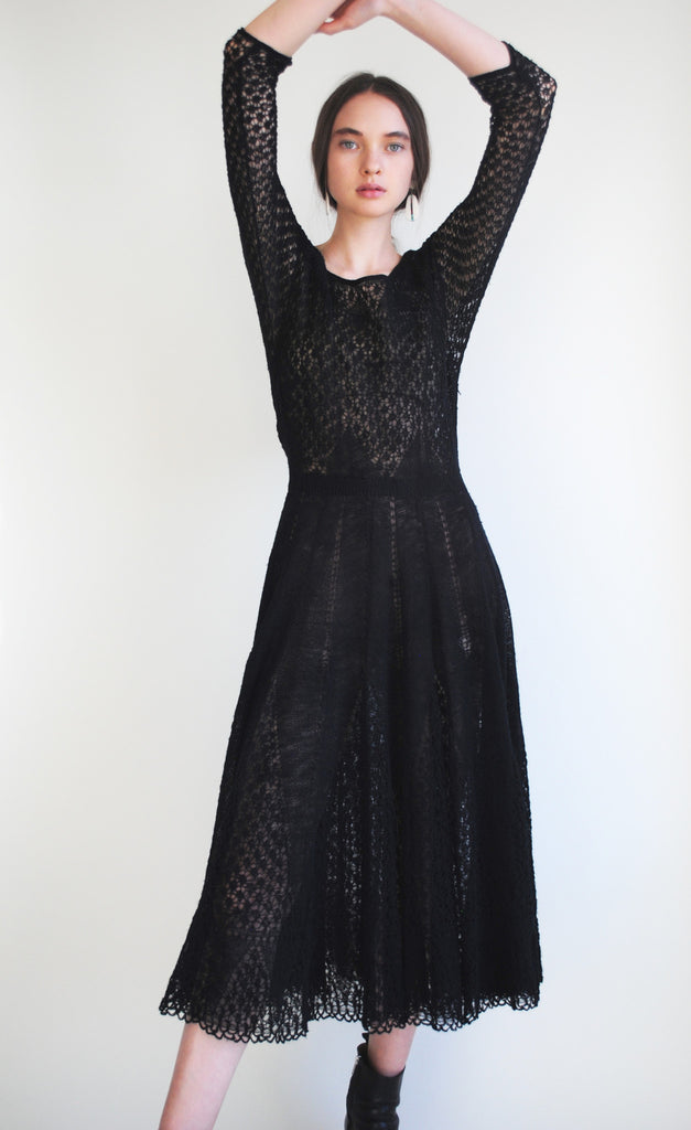 1940's Black Knit Dress