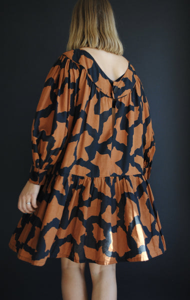 Vintage Patterned Smock Dress