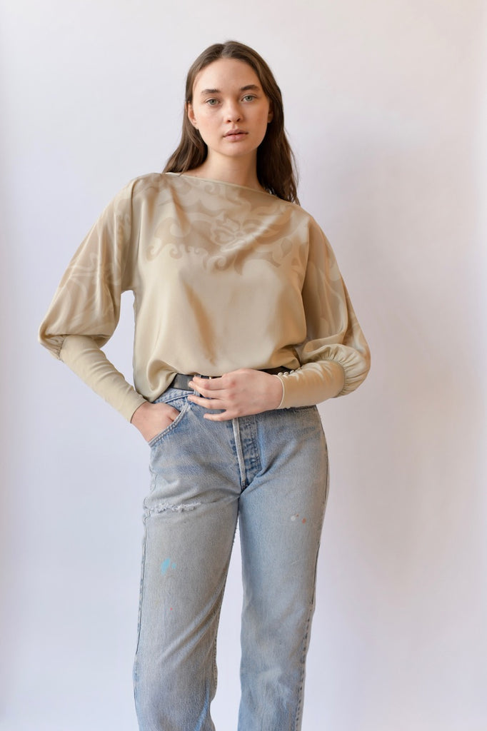 Bishop sleeve silk blouse