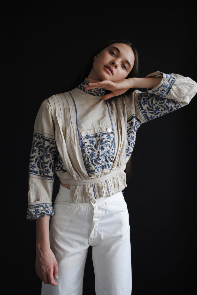 Edwardian Blue Embroidered Blouse