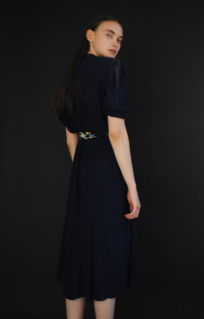 1940's Navy & Floral Dress