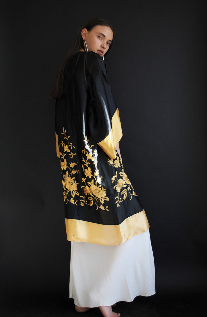 1920s Silk Embroidered Duster