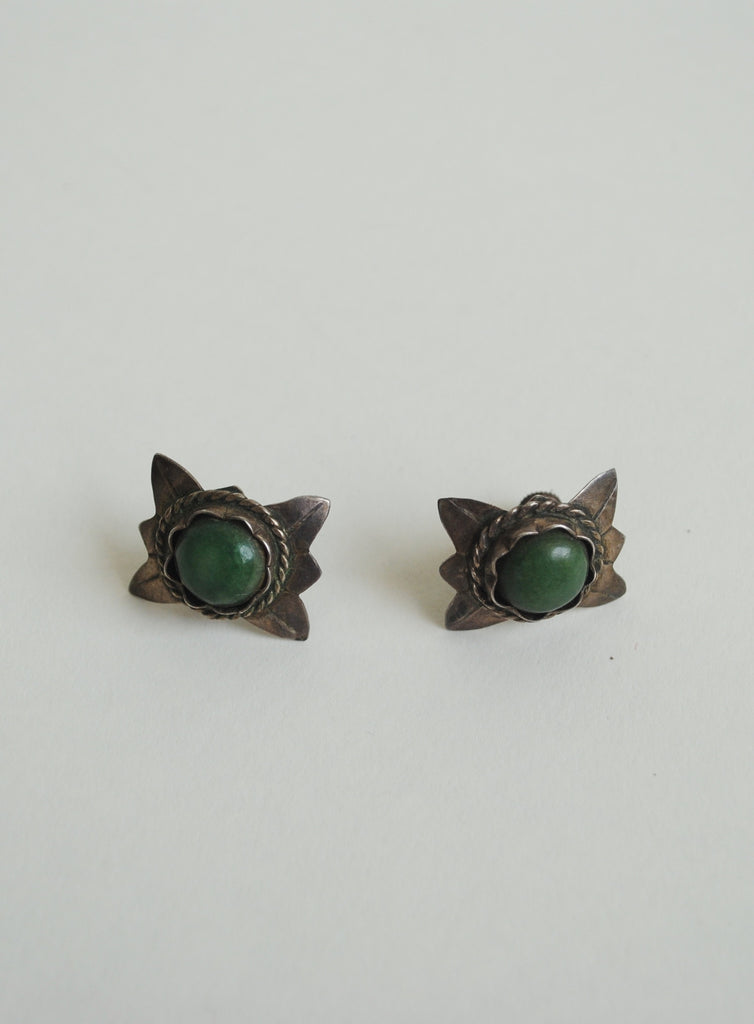1940's Silver and Green Onyx Studs