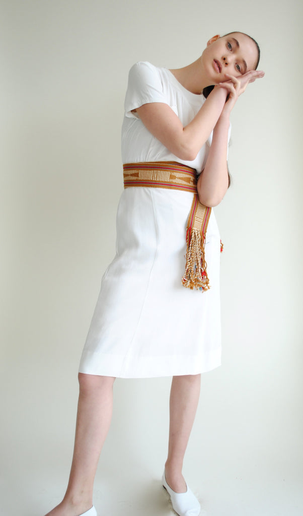 1940's White Rayon Dress