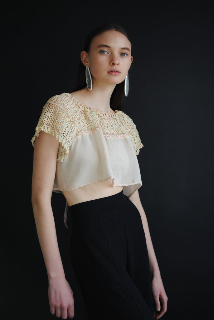 Antique Crochet and Silk Top