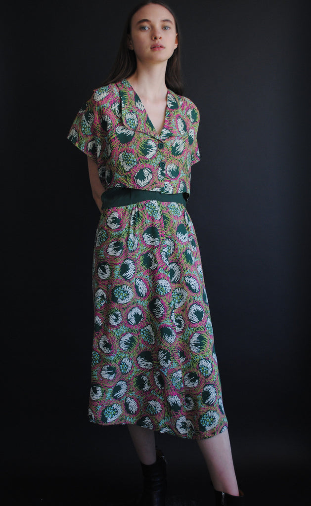 1940's Printed Rayon Dress