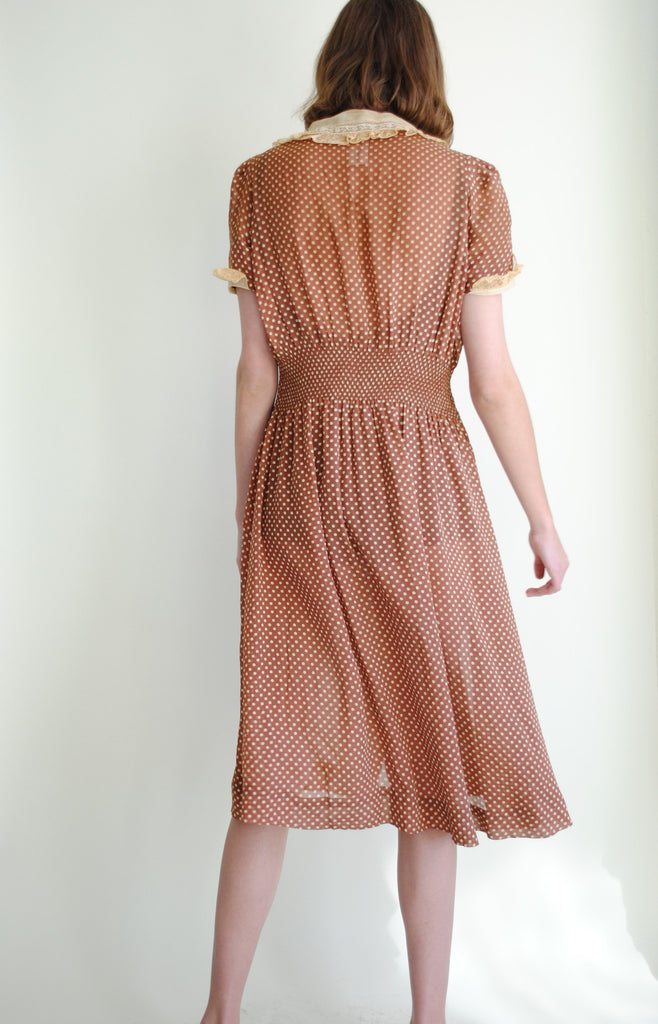 1930's Dotted Silk Dress