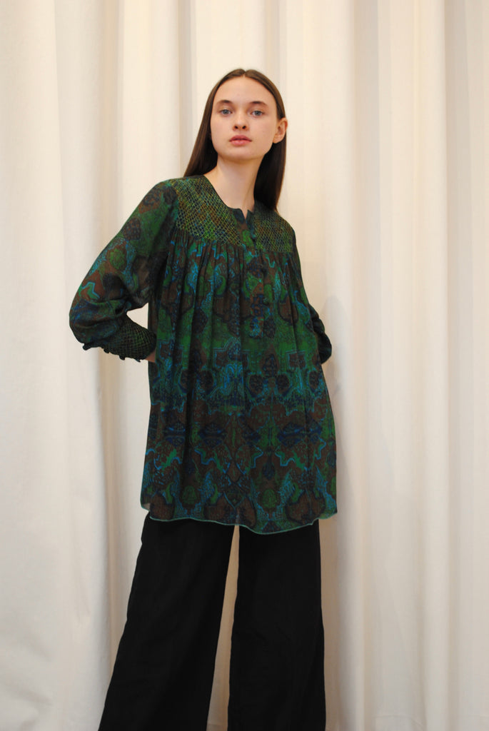 Tracy Lowe Gathered Silk Blouse