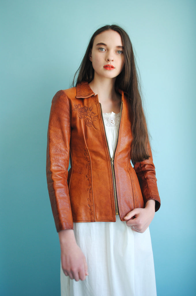 Embossed Shrunken Leather Jacket