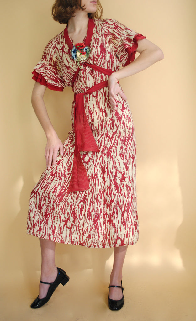 1930's Printed Evening Dress