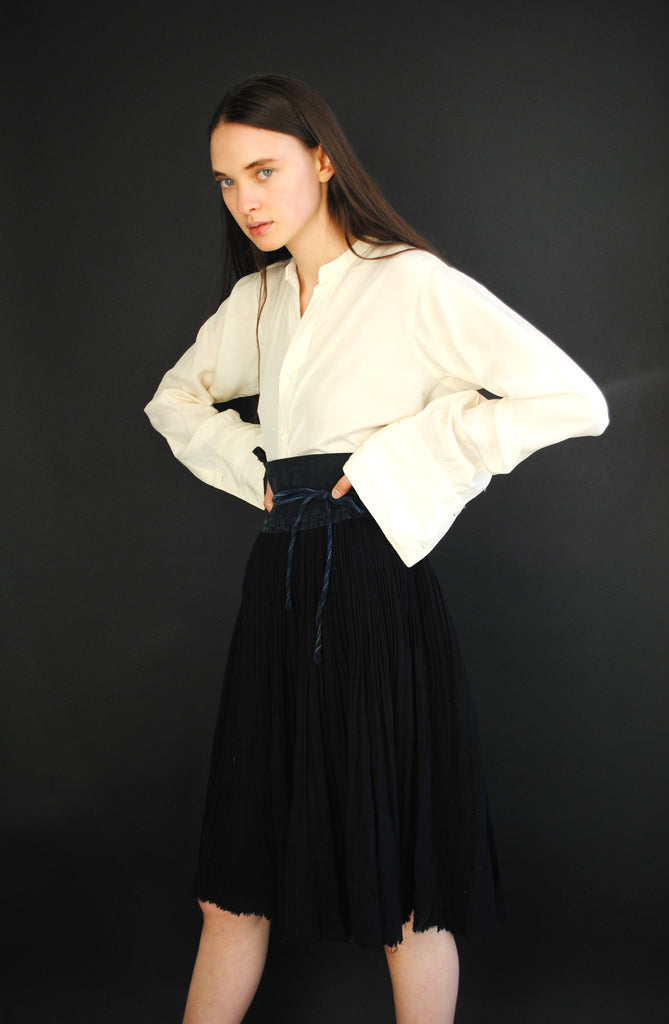 Pleated Indigo Skirt