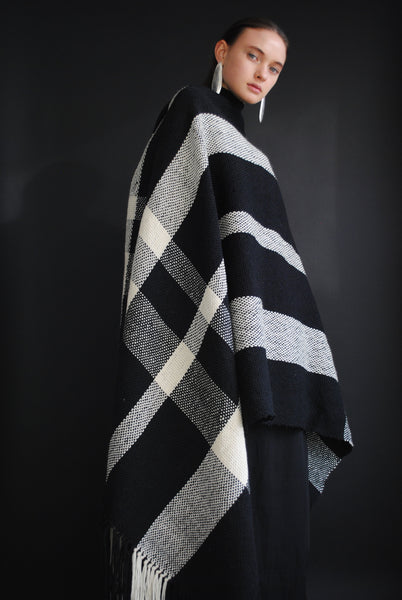 Black and white woven blanket