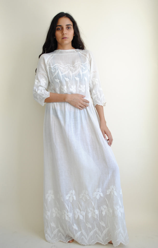 Embroidered Edwardian Iris Dress