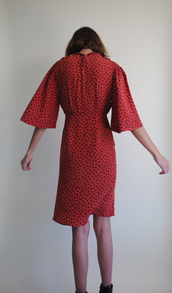1940's Silk Printed Dress