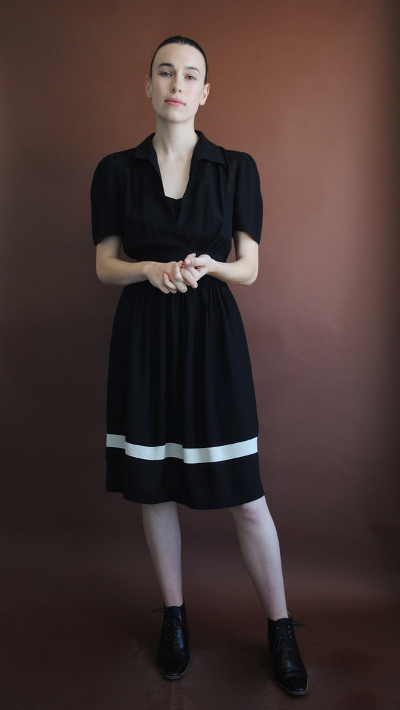 1940's Black and White Crepe Dress