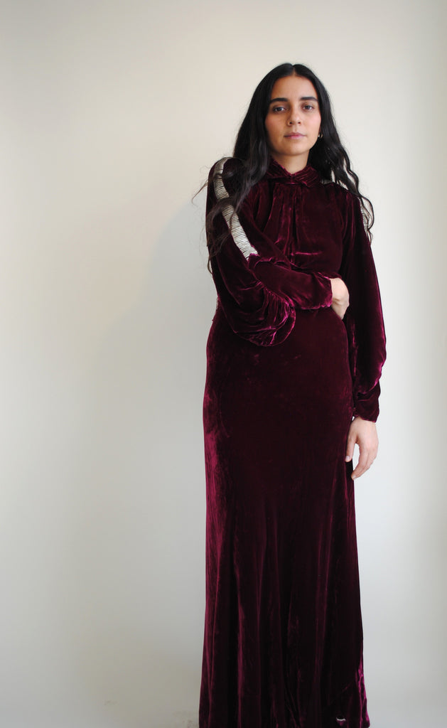 1930's Burgundy Evening Dress