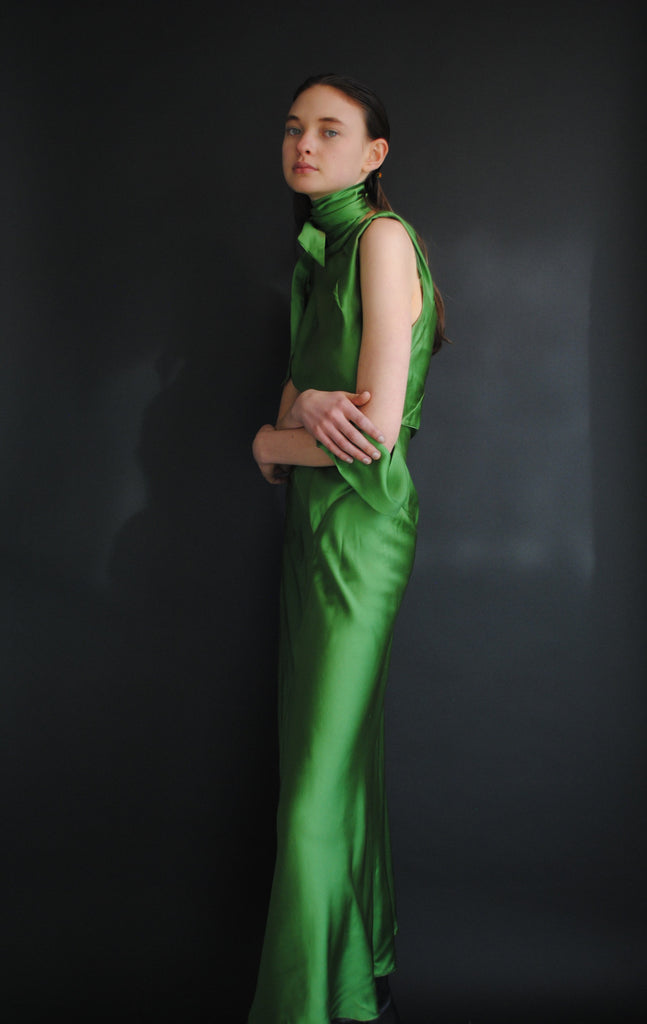 1930's Kelly Green Silk Gown