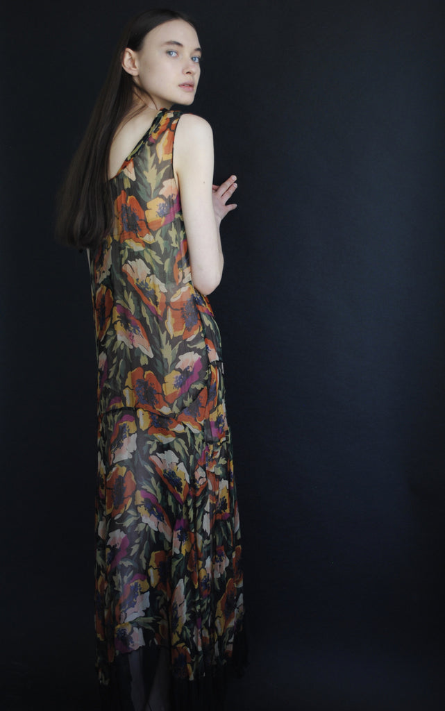 1930's Floral Chiffon Dress
