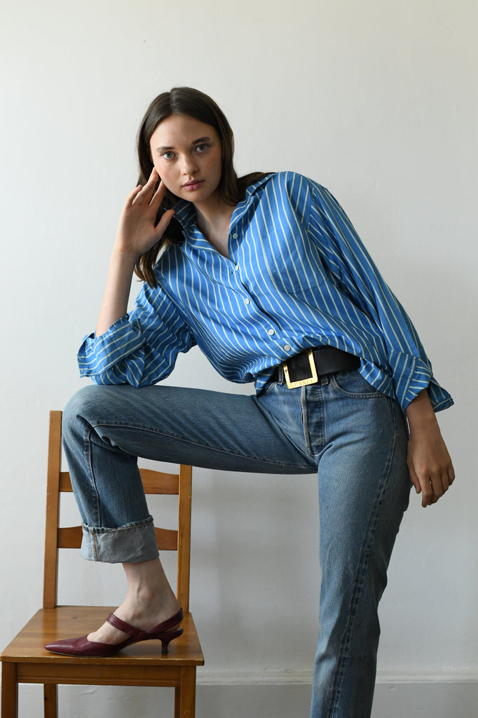 Vintage YSL Striped Silk Blouse