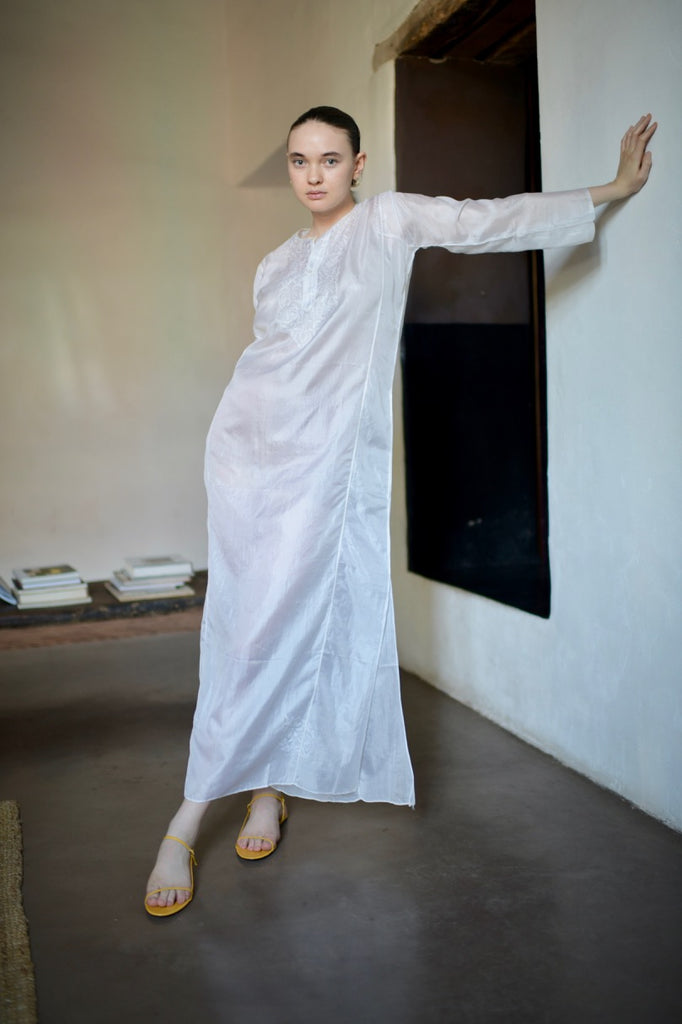 1970's White Silk Caftan
