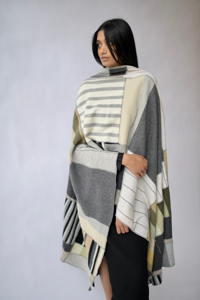 Striped Pieced Cashmere Throw